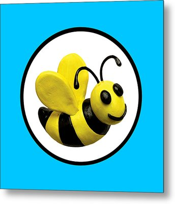 Happy Bee Metal Print by Amy Vangsgard
