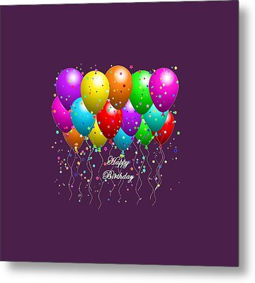 Happy Birthday Balloons Metal Print