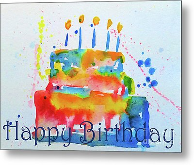Metal Print featuring the painting Happy Birthday Blue Cake  by Claire Bull
