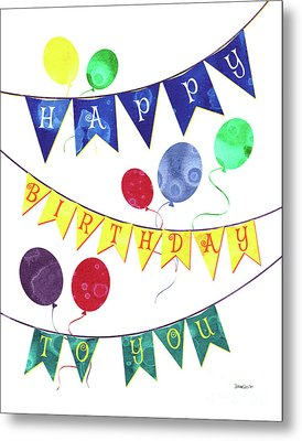 Happy Birthday Flag Metal Print by Debbie DeWitt