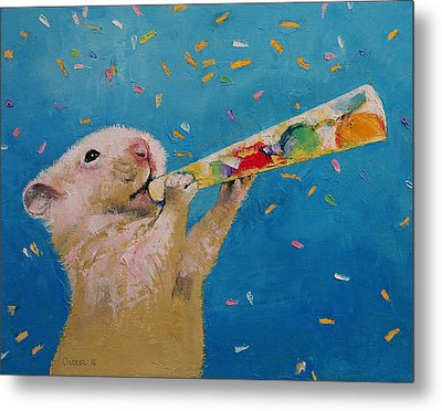 Happy Hamster New Year Metal Print by Michael Creese