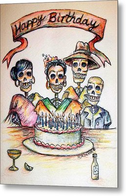 Happy Birthday Woman Skull Metal Print by Heather Calderon