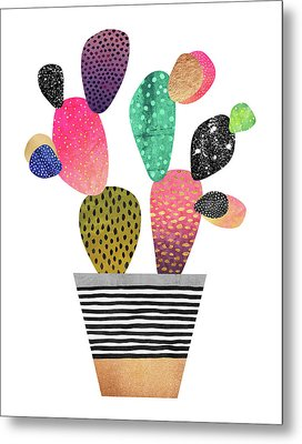 Happy Cactus Metal Print by Elisabeth Fredriksson