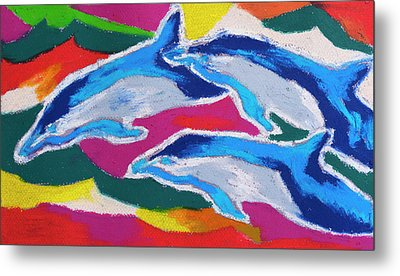 Happy Dolphin Dance Metal Print by Stephen Anderson