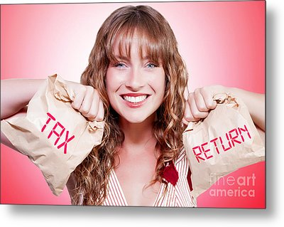 Happy Female Accountant Holding Income Tax Return Metal Print