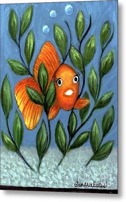 Metal Print featuring the painting Happy Goldfish by Sandra Estes