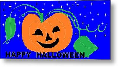 Happy Halloween 1 Metal Print by Linda Velasquez