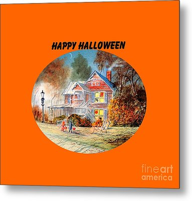 Metal Print featuring the painting Happy Halloween by Bill Holkham