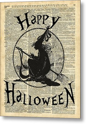 Happy Halloween Witch With Broom Dictionary Artwork Metal Print