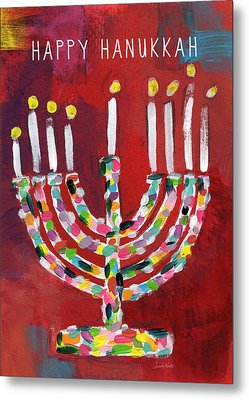 Happy Hanukkah Colorful Menorah Card- Art By Linda Woods Metal Print by Linda Woods
