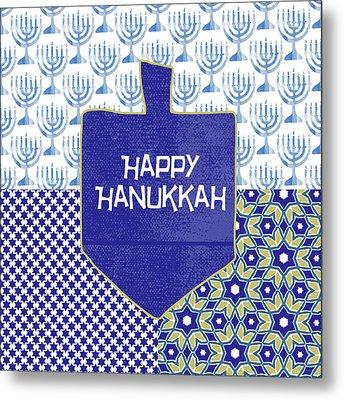 Happy Hanukkah Dreidel 1- Art By Linda Woods Metal Print