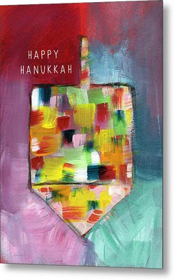 Happy Hanukkah Dreidel Of Many Colors- Art By Linda Woods Metal Print by Linda Woods