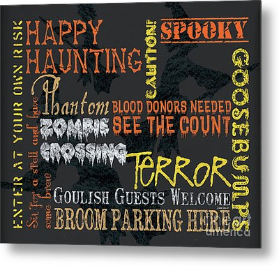 Happy Haunting Typography Metal Print by Debbie DeWitt