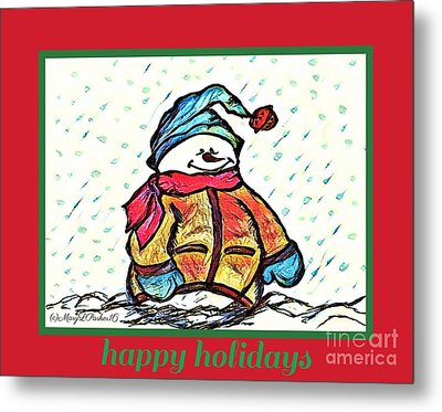 Happy Holidays Snowman Metal Print