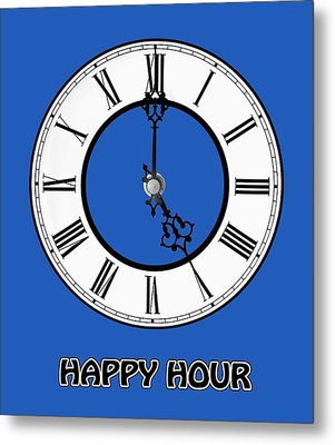 Happy Hour - White And Blue Metal Print