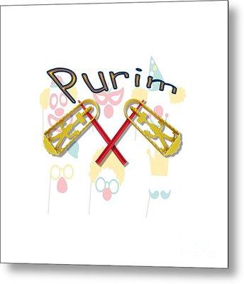 Happy Joyous Purim  Metal Print by Humorous Quotes
