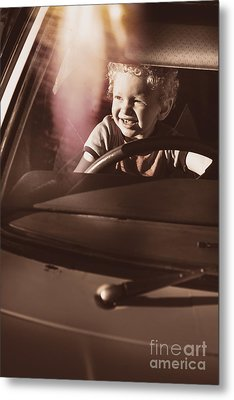 Happy Kid Pretending To Drive Vintage Car Metal Print by Jorgo Photography - Wall Art Gallery
