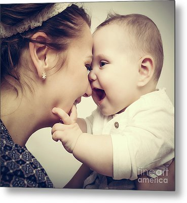 Happy Moments. Mother Holding And Playing With Her Baby. Vintage Metal Print by Michal Bednarek