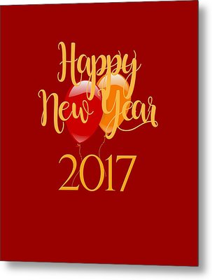 Metal Print featuring the digital art Happy New Year 2017 With Balloons by Heidi Hermes