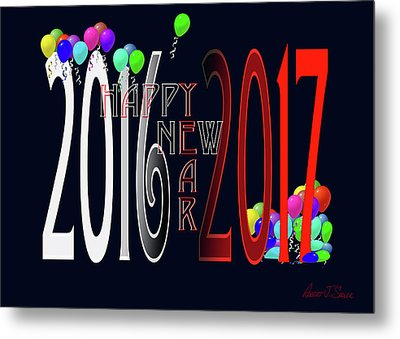 Happy New Year Card With Ballons Metal Print