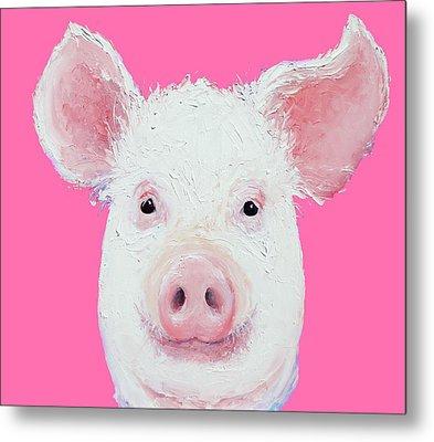 Happy Pig Portrait Metal Print by Jan Matson