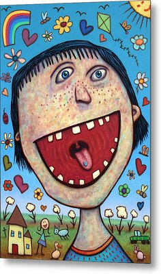 Happy Pill Metal Print by James W Johnson