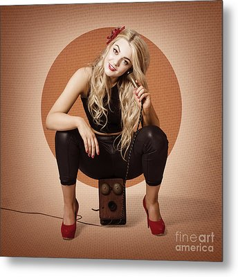 Happy Pin Up Girl Talking On Retro Box Telephone Metal Print by Jorgo Photography - Wall Art Gallery