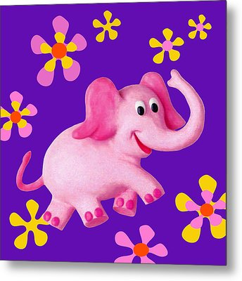 Happy Pink Elephant Metal Print by Amy Vangsgard