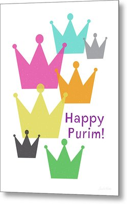 Metal Print featuring the mixed media Happy Purim Crowns - Art By Linda Woods by Linda Woods