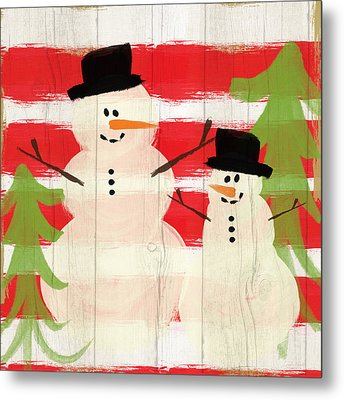 Happy Snowmen- Art By Linda Woods Metal Print