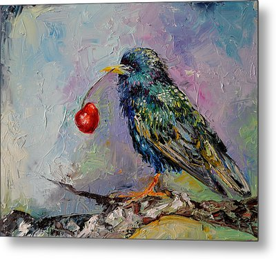 Happy Starling, Cherry And Starling Modern Original Oil Painting Metal Print by Soos Roxana Gabriela