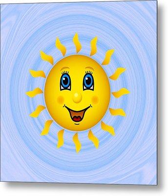 Happy Sun On Blue Sky Metal Print by Miroslav Nemecek