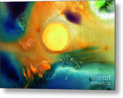 Happy Sunrise Fluid Abstract Art Liquid Painting By Kredart Metal Print