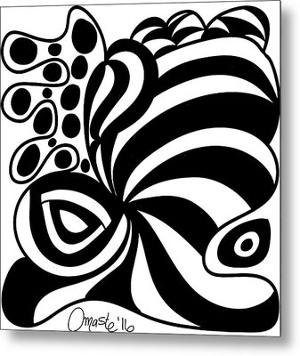 Happy Thanksgiving 2016 Abstract Black And White Art By Omashte Metal Print by Omaste Witkowski