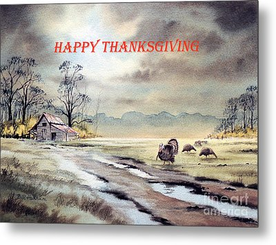 Metal Print featuring the painting Happy Thanksgiving  by Bill Holkham