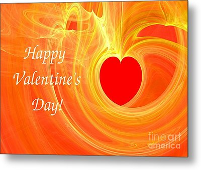 Happy Valentine Day Fractal Design Greeting Card Metal Print by Yali Shi