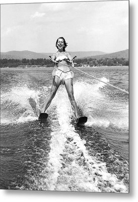 Happy Woman Water Skier Metal Print by Underwood Archives