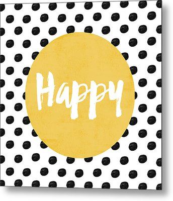 Happy Yellow And Dots Metal Print