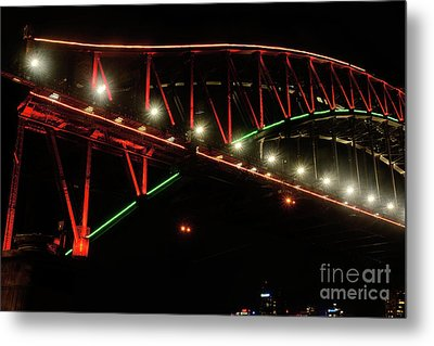 Metal Print featuring the photograph Harbor Bridge Green And Red By Kaye Menner by Kaye Menner