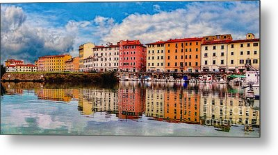 Harbor Reflections In Panoramic Metal Print by Sue Melvin