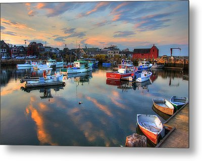 Harbor Sunset In Rockport Ma Metal Print