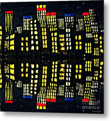 Harbour Lights Reflected 1 Metal Print by Leanne Seymour