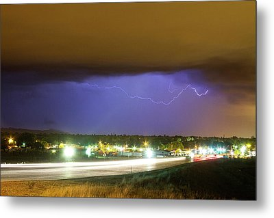 Hard Rain  Lightning Thunderstorm Over Loveland Colorado Metal Print by James BO  Insogna