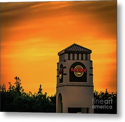 Hard Rock Cafe At Sunset Metal Print by Claudia M Photography