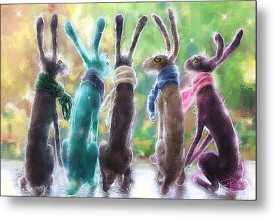 Hares With Scarves Metal Print