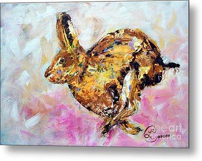 Haring Hare Metal Print by Lynda Cookson