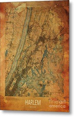 Harlem, New York, 1900 Map Metal Print