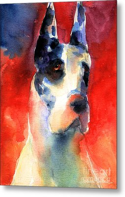 Harlequin Great Dane Watercolor Painting Metal Print