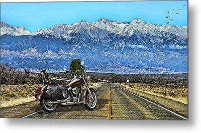 Harley Davidson Heritage Motorcycle On The Doorstep Of The Rockies, Colorado Metal Print by Thomas Pollart