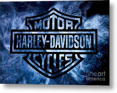 Harley Davidson Logo Blue Metal Print by Randy Steele